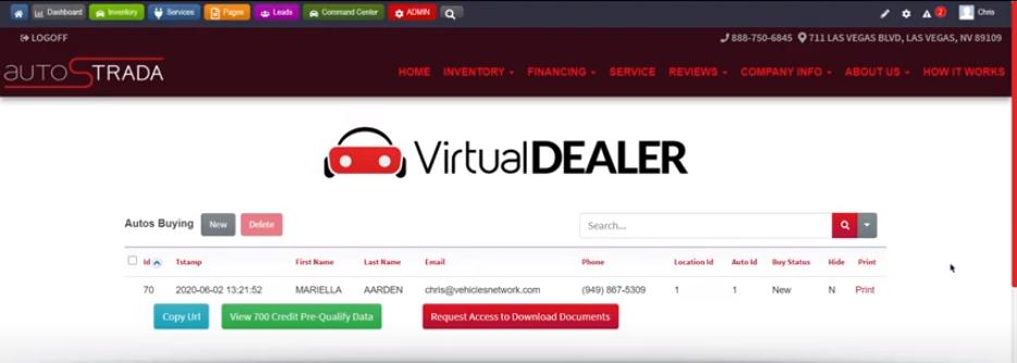 Virtual Dealer Website Dashboard Example