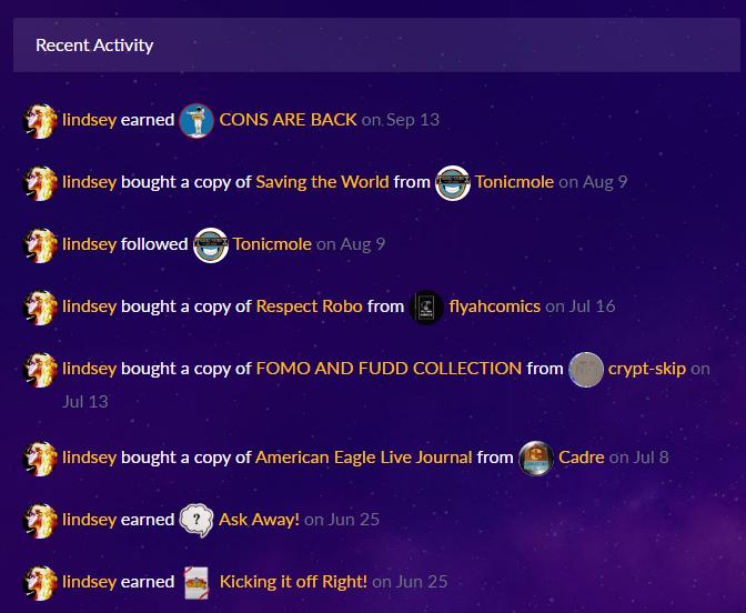 CryptoComics.com Activity Feed Update