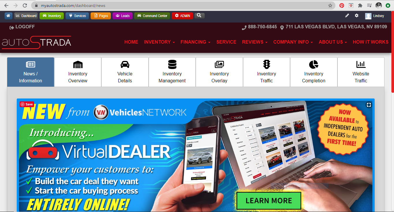 Auto dealership website dashboard