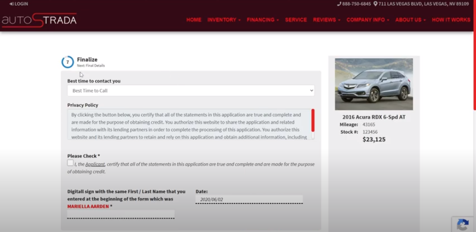 Virtual Dealer Online Car Sales Finalize the Sale