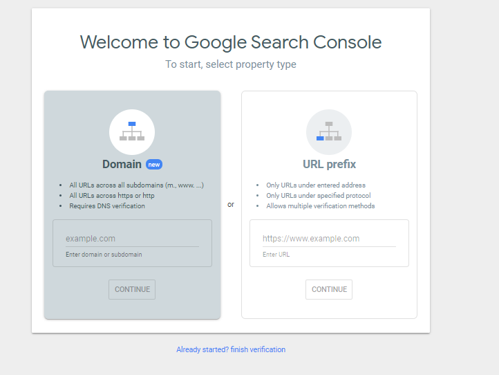 Using Google Search Console: Enter your domain