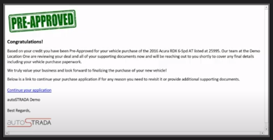 Virtual Dealer Automated Emails Confirmation