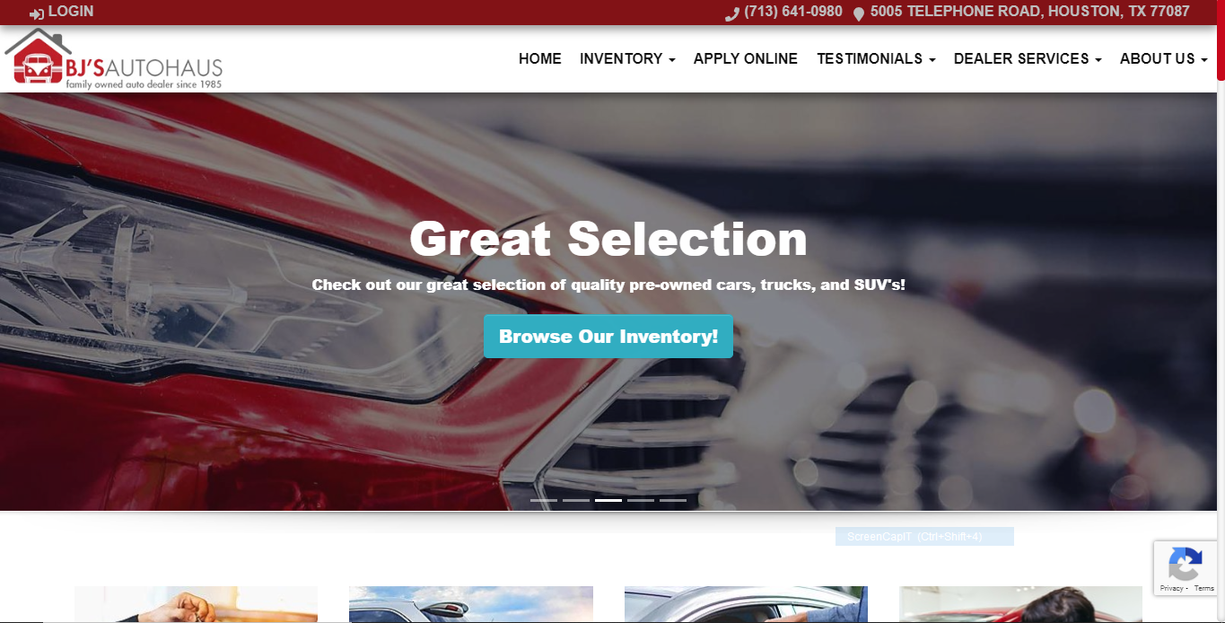 Auto Dealership Website Example