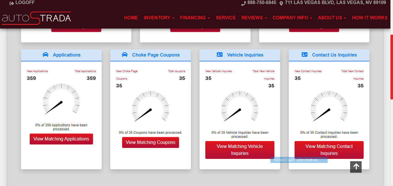 auto dealership website dashboard example