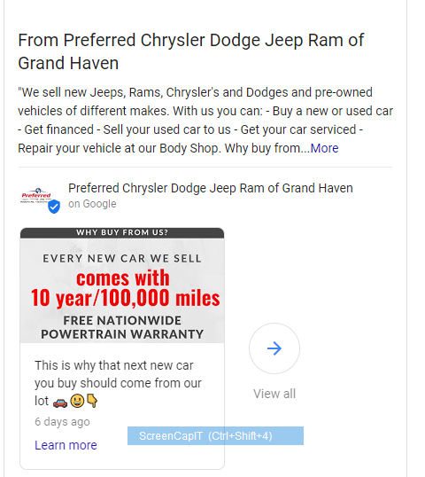 Google My Business Auto Dealership Post Example