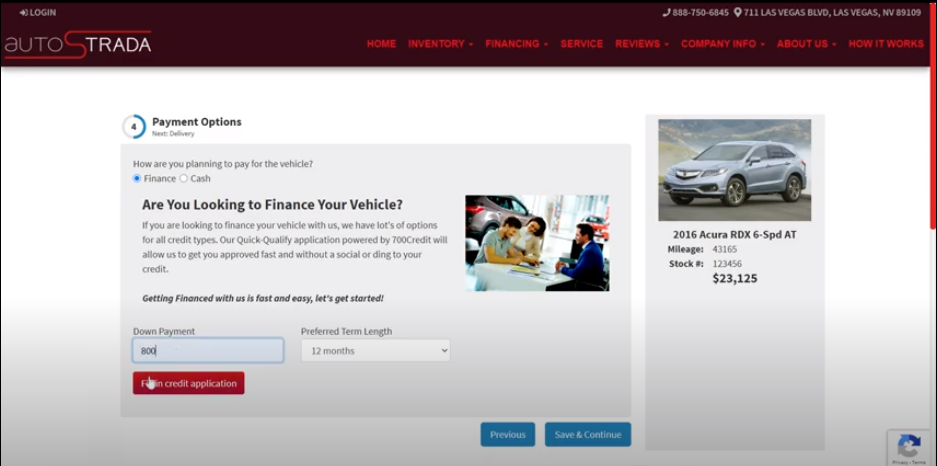 Online Car Shopping Financing Approval