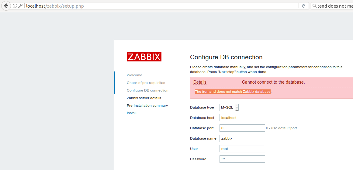 zabbix database installation error